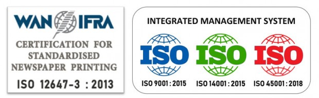 ISO 12647-3, ISO 9001, ISO 14001, ISO 45001 certifications